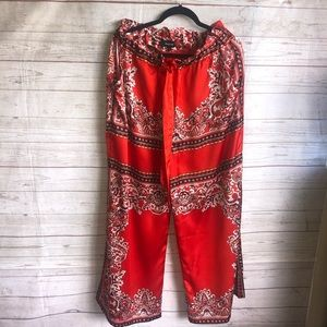 Aakaa wide leg paisley pants with pockets size lg